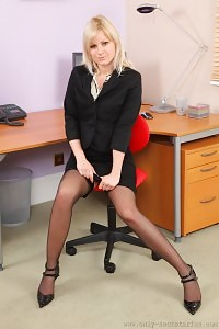 Blonde Bridget Hides Out Cute Yellow Underwear Beneath Her Office Dresses.