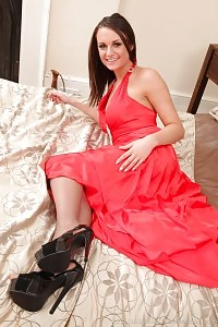 Siobhan Modeling In Silky Dress And Pantyhose
