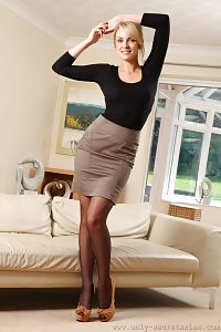 Stacey Plays Us To Exhibits Of Her Holdup Nylons Underneath Her Schoolskirt