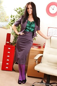 The Breathtaking Emma Glover In Her Secretary Uniform And Nylons