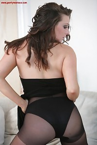 Isabelle Erotically Strips Her Pantyhose And Black Dress As She Cares Her Delicious Figure
