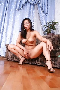 Mai Posing Naked Before She Joins 2 Boys On The Sofa To Take Cocks Inside Her Ass
